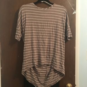 Tops - Brown and white striped high low shirt